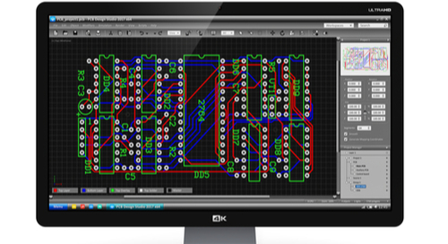 PCB layout on a computer screen