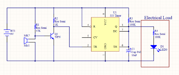 Clap switch circuit with 555 timer