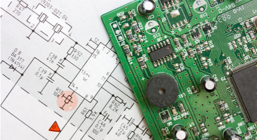 Image of PCB on schematic page in integration of schematic capture