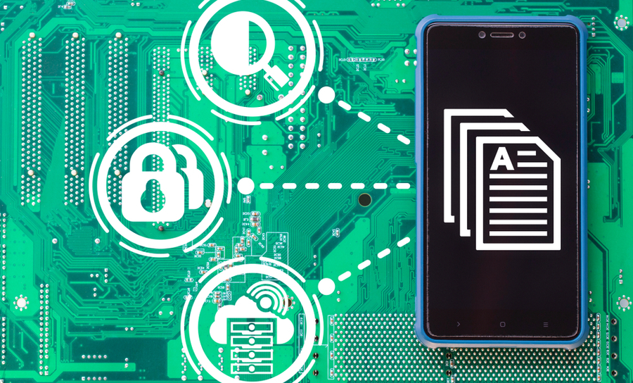 Smartphone on a green circuit board with file icon
