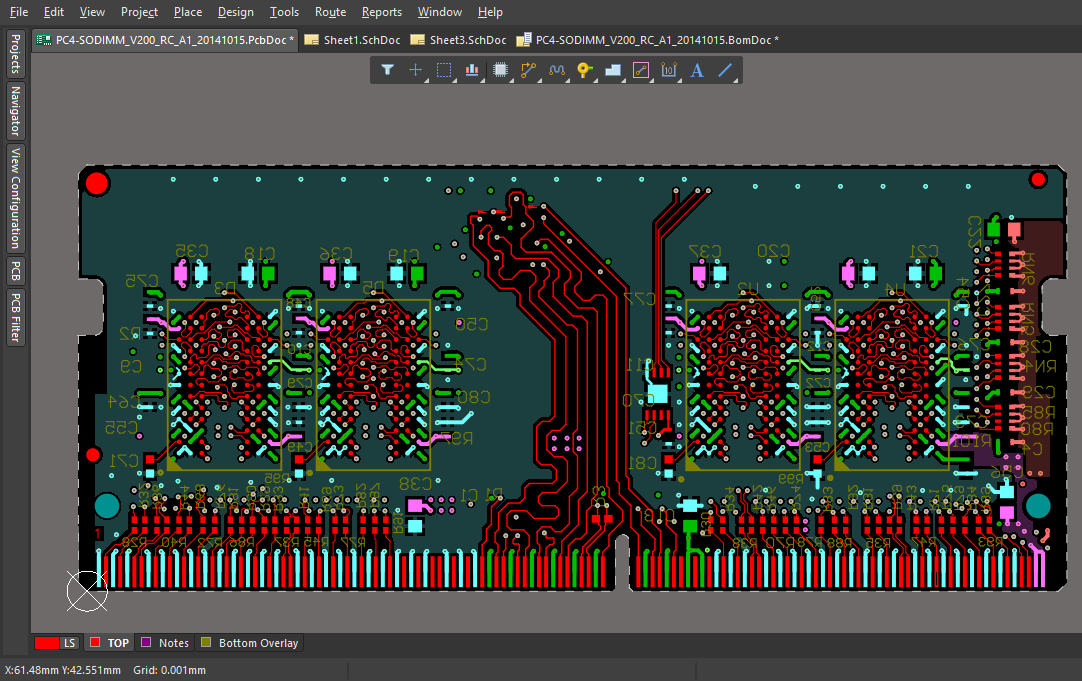 Screenshot of a captured and routed PCB document in Altium