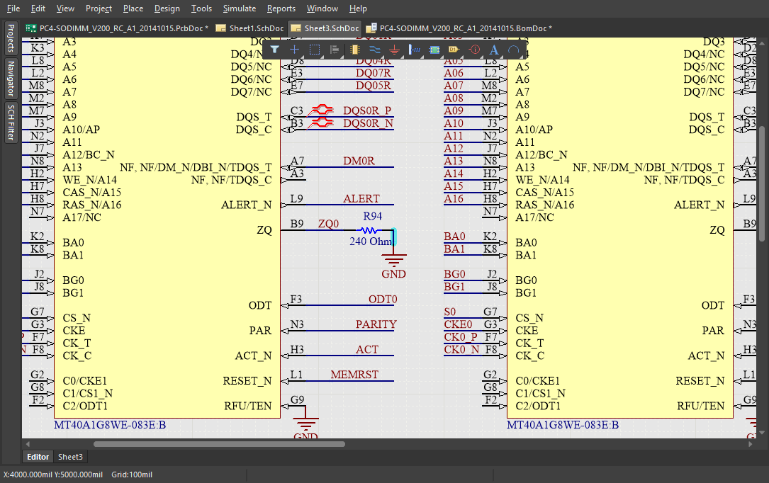 : Screenshot of a schematic with net labels in Altium