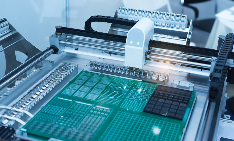 Circuit board on a manufacturing and assembly line