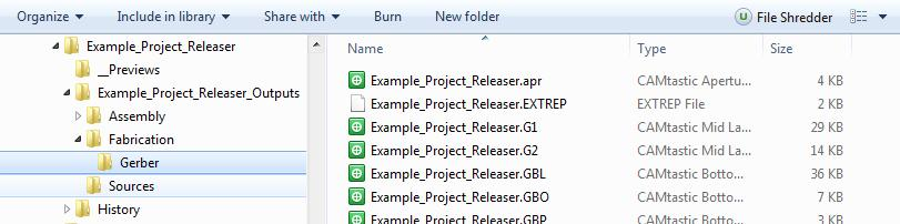Screenshot of a file explorer window with Gerber files in project release management