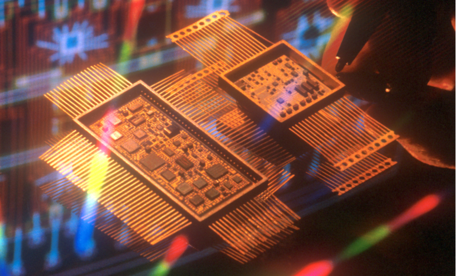 A gold PCB and circuitry
