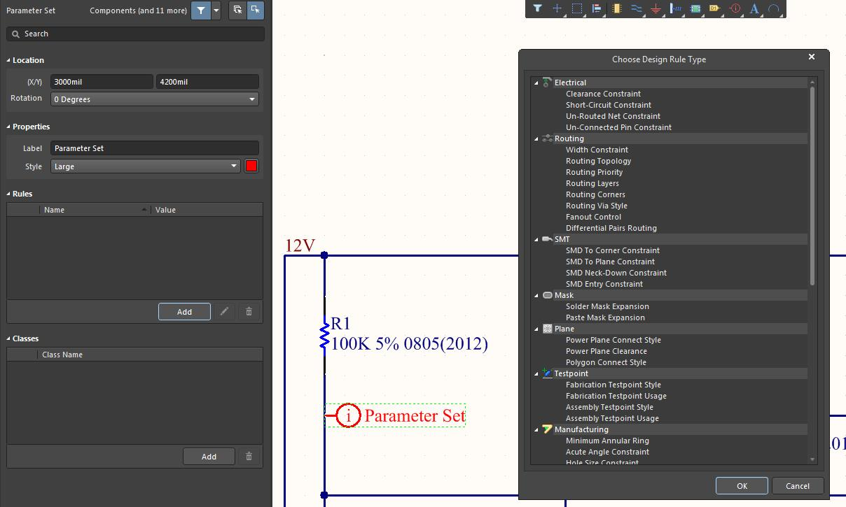 Screenshot of AD18 parameter set chose rule in net connection order