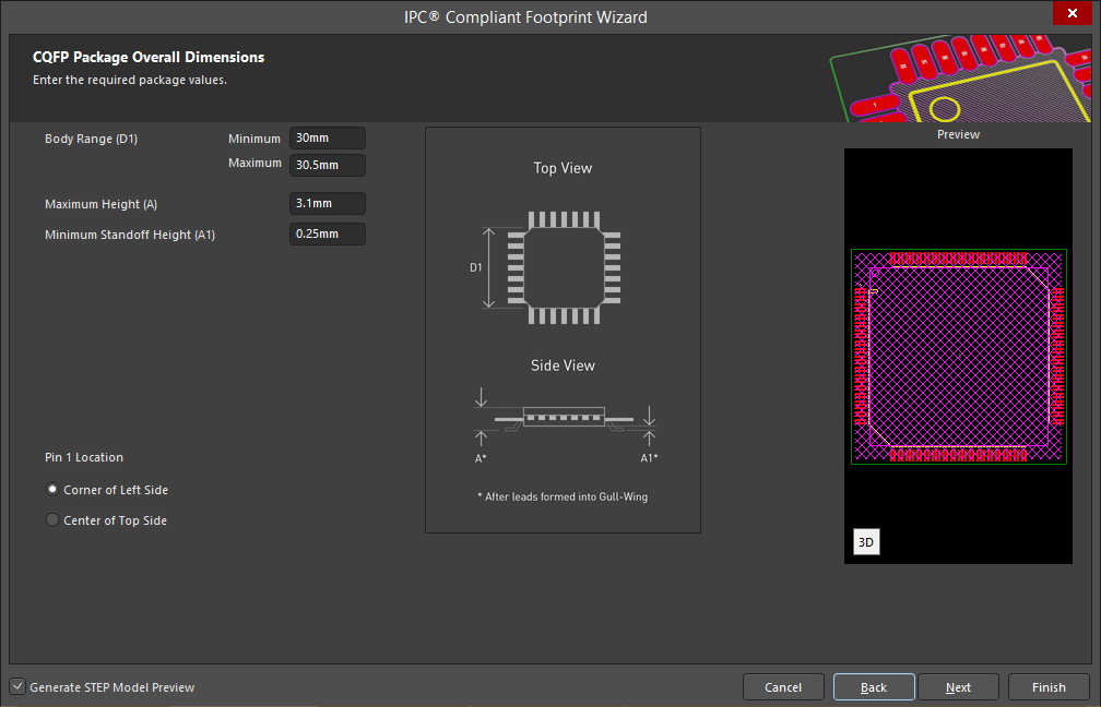Altium DesignerのIPC Compliant Footprint Wizardのスクリーンショット