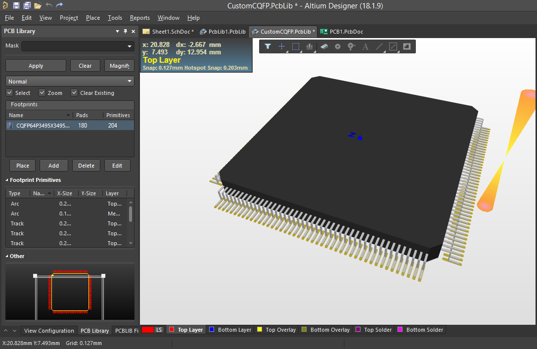 Screenshot of the 3D view of  a custom component in Altium
