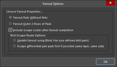 Screenshot of AD19 fanout options in fanout a large BGA