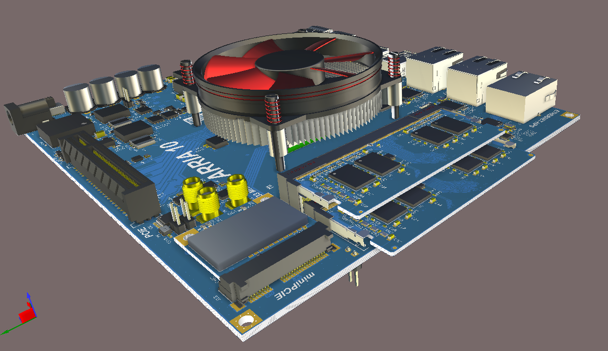 3D view of a multi-board system in Altium