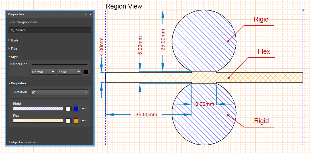 Use the properties panel to customize the board region view