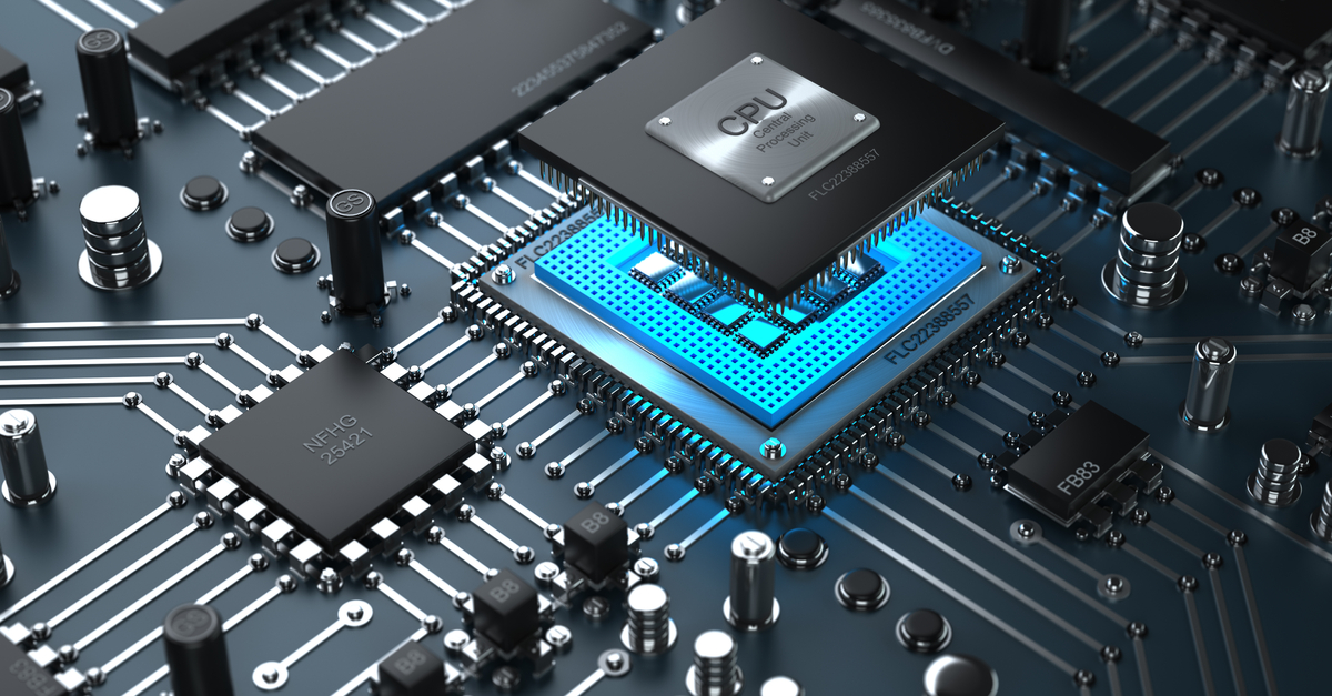 CPU and integrated circuits on black PCB