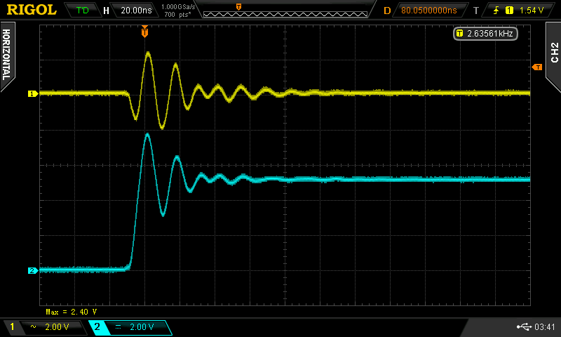 Measurements for transient analysis on an oscilloscope readout