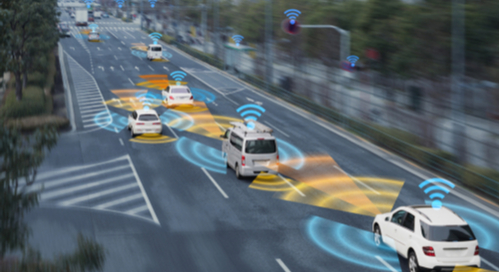 Wireless communication between self-driving cars