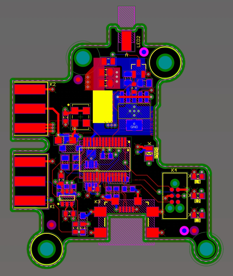 Three side-by-side images of a PCB in 2D layout mode, 3D layout mode, and high quality render mode