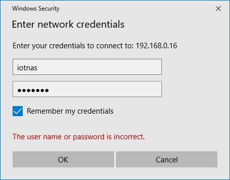 Windows security prompting for credentials to connect to the ODroid HC1