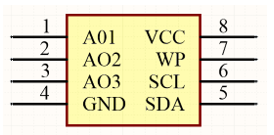 Altium Designer schematic symbol for the 8-lead SOIC of the AT24C01C-SS showing pins A01, AO2, GND, SDA, SCL, WP, and VCC.
