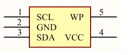 Altium Designer schematic symbol for the 5-lead SOT23 of the AT24C01C-ST showing pins SCL, GND, SDA, VCC and WP.