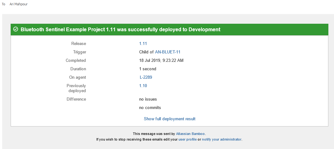 Atlassian Bamboo email notification after successful deployment.