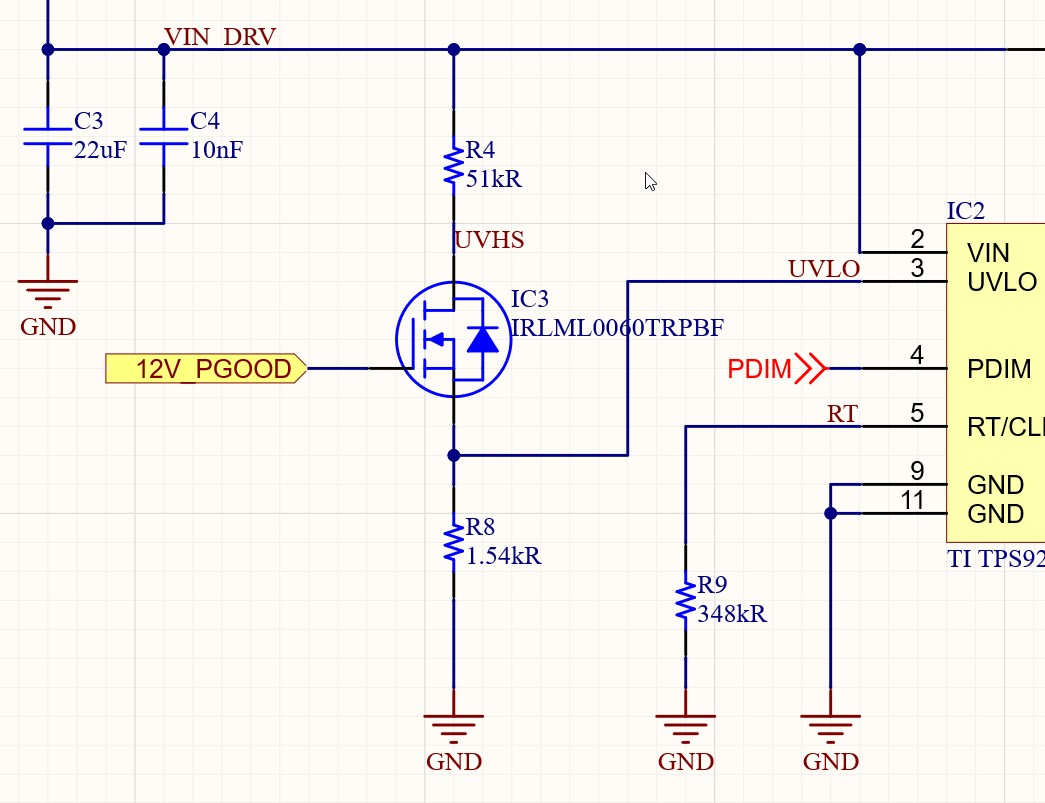 LED Driver Schematic showing an IRLML0060TRPBF being used to verify the 12V power good signal