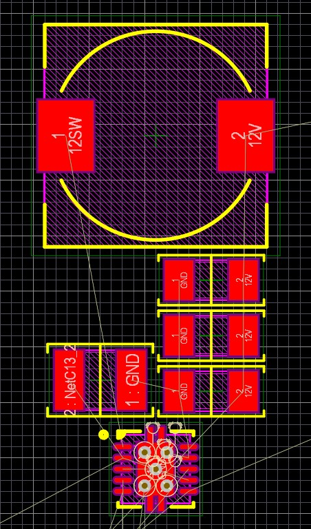 The PCB layout for the three-capacitor schematic above.
