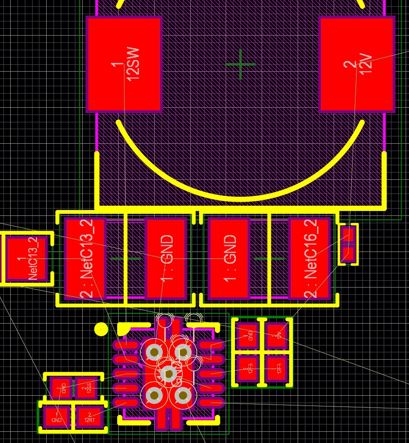 Altium Designer 20 PCB layout showing a power supply IC connected to multiple related components