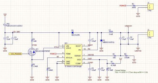 Altium Designer schematic for a TI TPS892512MVDGQR IC and its passives in a 65W single IC LED Driver