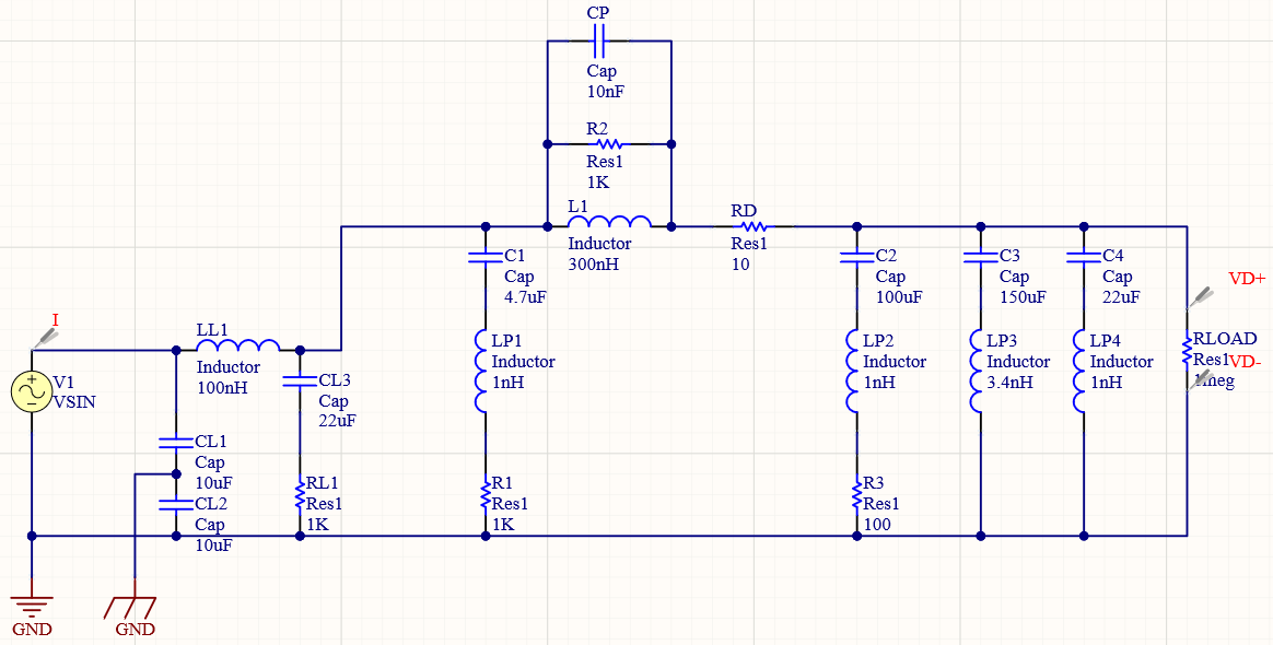 Adding damping with resistors in an EMI filter simulation schematic