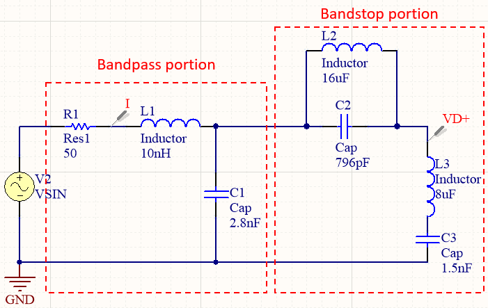 Schematic for calculating a filter transfer function