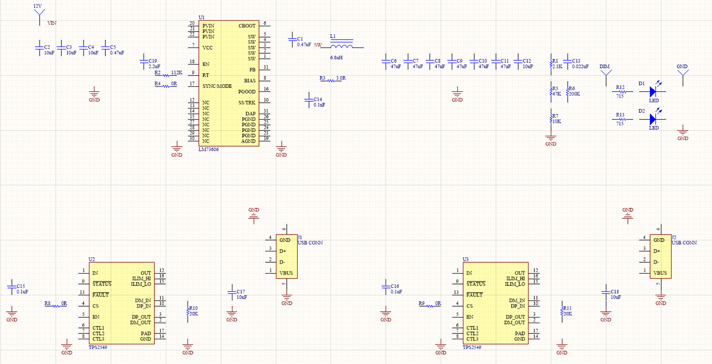 Initial schematic of the USB charger project in Altium Designer