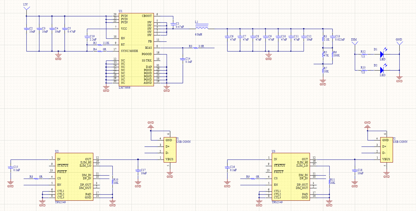 Wired schematic of the USB charger project in Altium Designer
