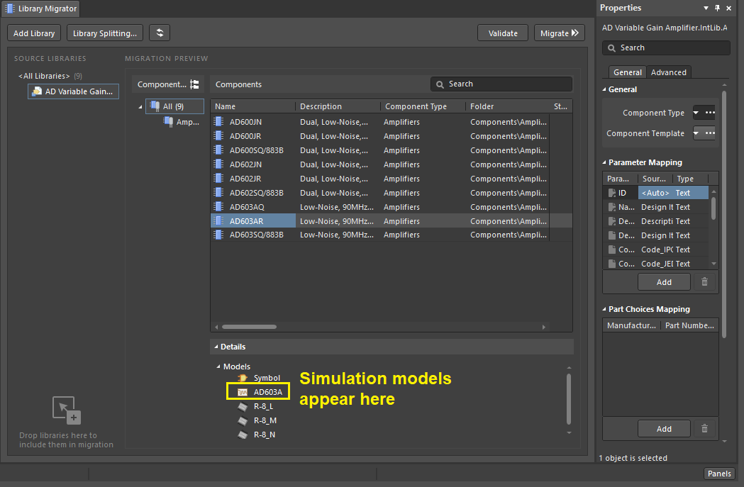 Simulation models library migration