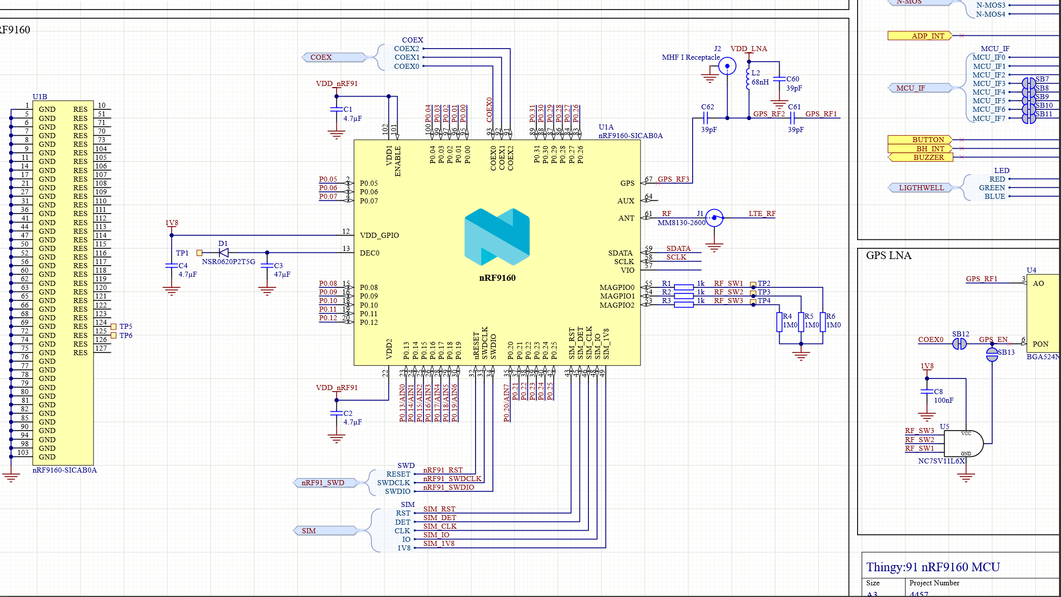 Thingy Schematic for cellular IoT hardware