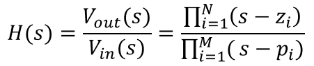 Transfer function equation