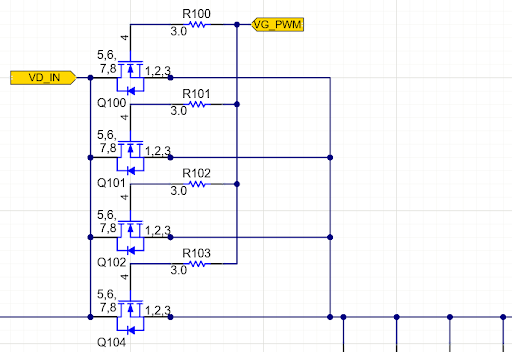 Power MOSFETs in Parallel simulation circuit